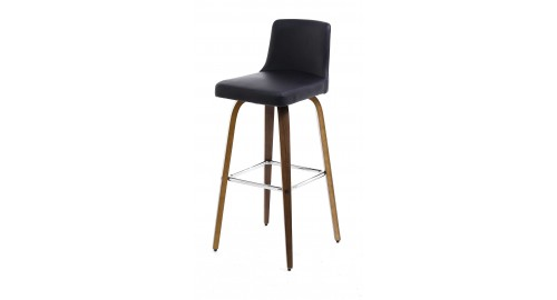tabouret de bar noir pieds walnut leti. Black Bedroom Furniture Sets. Home Design Ideas