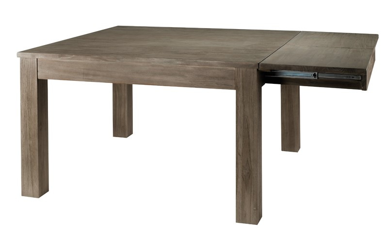 Table carr e teck gris 120 cm allonge cosmos for Table carree 120 cm