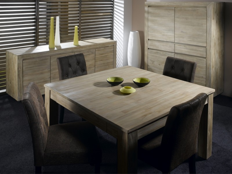 table repas carr e teck lin 120 cm allonge cosmopolitan. Black Bedroom Furniture Sets. Home Design Ideas