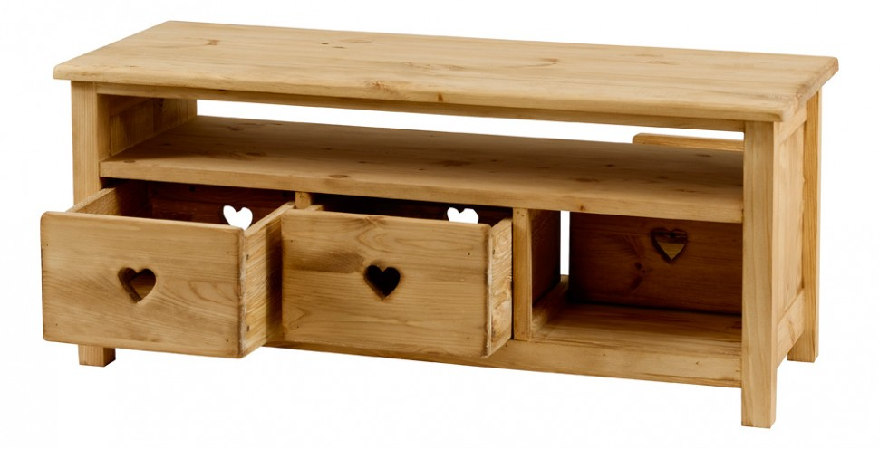 table basse rustique en pin avec coeur 3 tiroirs 1 niche. Black Bedroom Furniture Sets. Home Design Ideas