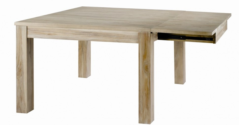 Table repas carr e teck lin 120 cm allonge cosmopolitan for Table carree 120 cm